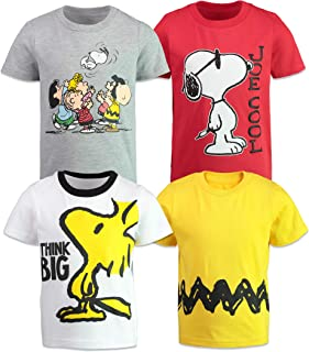Boys 4 Pack T-Shirts - Snoopy, Charlie Brown & Woodstock