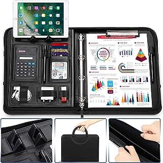 wilbest® Porte Documents, Dossier de Conférence A4 Cuir avec Calculatrice Support Téléphone Compartiment, Pochettes de Doc...