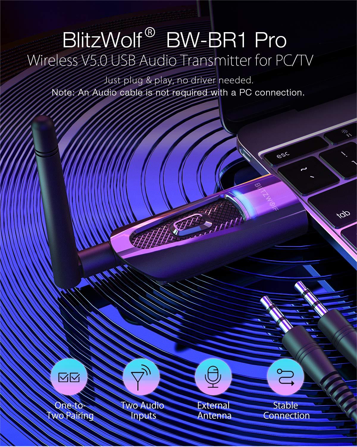 BlitzWolf Transmisor Bluetooth 5.0, Adaptador Bluetooth Audio para PC TV, Conecta 2 Dispositivos Simultáneamente, Conexión de USB y Cable de Audio de 3.5mm, Antena Externa, Conexión Estable: Amazon.es: Electrónica