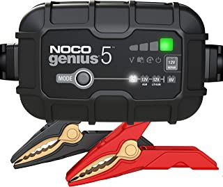 NOCO GENIUS5, 5-Amp Fully-Automatic Smart Charger, 6V And 12V Battery Charger, Battery Maintainer, And Battery Desulfator With Temperature Compensation