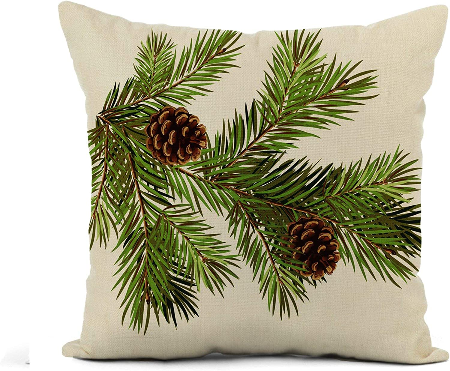 Awowee Flax Throw Pillow Cover Green Aged Branch of Christmas Tree Pine Cone Celebrate 18x18 Inches Pillowcase Home Decor Square Cotton Linen Pillow Case Cushion Cover