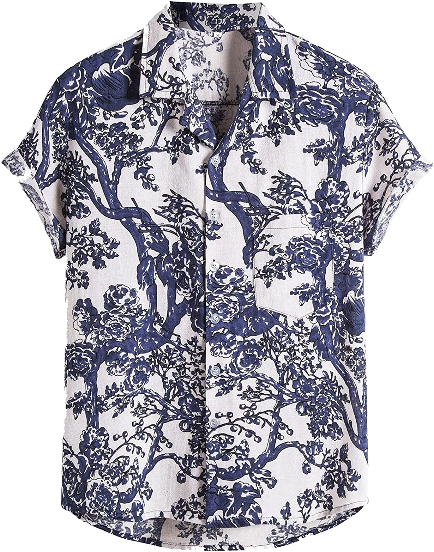 LEIYAN Mens Casual Loose Button Down Shirts Summer Short Sleeve Retro Big and Tall Hawaiian Beach Print Shirts