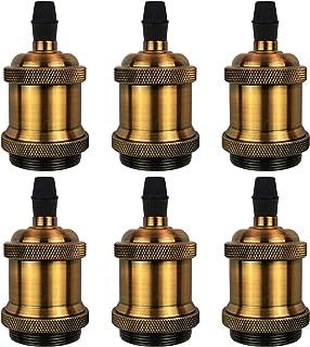 DiCUNO E27 Vintage Portalámpara, Sólido cerámica enchufe, Edison retro colgante, Industrial y decorativo para Iluminación de bricolaje, 600℃ Resistente al calor, 6 Piezas de latón vintage socket
