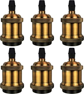 DiCUNO Vintage E26 Lamp Socket, UL-listed Edison Retro Pendant Lamp Holder, Industrial and Decorative for DIY Lighting, 600℃ Heat Resistant Vintage Brass Color 6 Packages