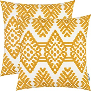 HWY 50 Yellow Embroidered Decorative Throw Pillows Covers Set Cushion Cases for Couch Sofa Living Room Modern Geometric Rhombus 18 x 18 inch Pack of 2