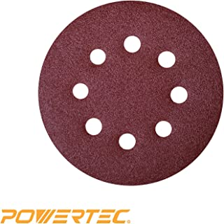 POWERTEC 45018 A/O Hook and Loop 8 Hole Disc, 5-Inch, 180 Grit, 25 PK