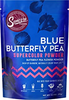 Suncore Foods - 100% Pure Blue Butterfly Pea Flower Powder, 3.5oz, (1 Pack) | Natural Supercolor Powder