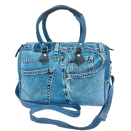 f953eaf522a6 Bijoux De Ja Unique Large Blue Denim Doctor Style Top Handle Shoulder  Handbag BL070