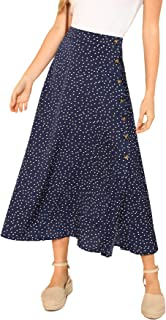 Women's Polka Dot A-Line Button Side Split Midi Knee Length Skirt