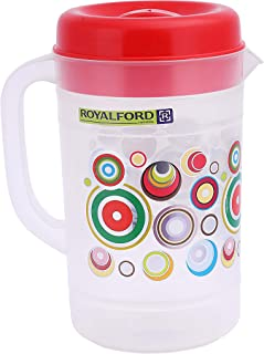 Royalford RF8980 Plastic 2.5 Litre Multi-Purpose Jug with Coloured Lid for Water Picnic Juice, Durable Plastic, Spill-Proo...