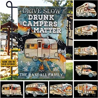 Personalized Drive Slow Drunk Campers Matter Camping Drunk Camper Blue Earth Camping Flag Custom RV Customized Name Flag G...