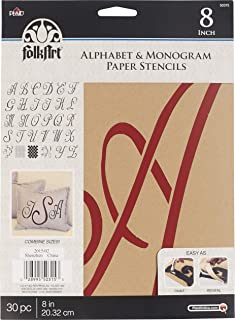 FolkArt 50315 Stencil Paper, Alphabet & Monogram Script 8