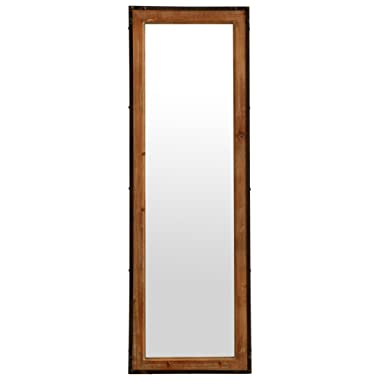 Amazon Brand – Stone & Beam Wood and Iron Hanging Wall Mirror, 42.25  Height, Natural Wood and Black