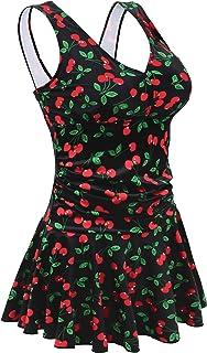 28dce2ce424e8 AONTUS Women s Plus Size Swimsuits Tummy Control One Piece Swim Dresses Bathing  Suit Beige