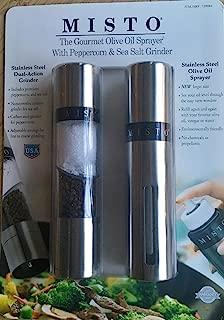 Misto The Gourmet Stainless Steel Olive Oil Sprayer With Peppercorn & Sea Salt Grinder (Silver Steel)