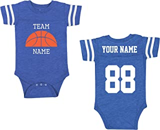 Custom Cotton Add Your Name Number Shirts for Babies - Team Apparel Baby One-Piece Suits & Newborn Outfits