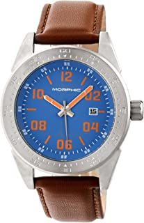 M63 Series Leather-Band Watch w/Date - Silver/Blue/Brown