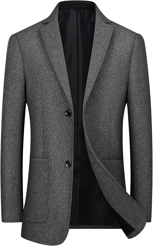 chouyatou Men's Casual Notched Collar 2 Button Slim Formal Wool Blend Suit Separate Blazer Jacket