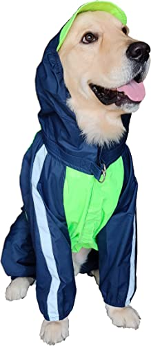 Doxters Full Coverage Dog Raincoat, Long Durability ToughCoat Size 30, for Large Dogs, Like Golden Retriever, Labrado...