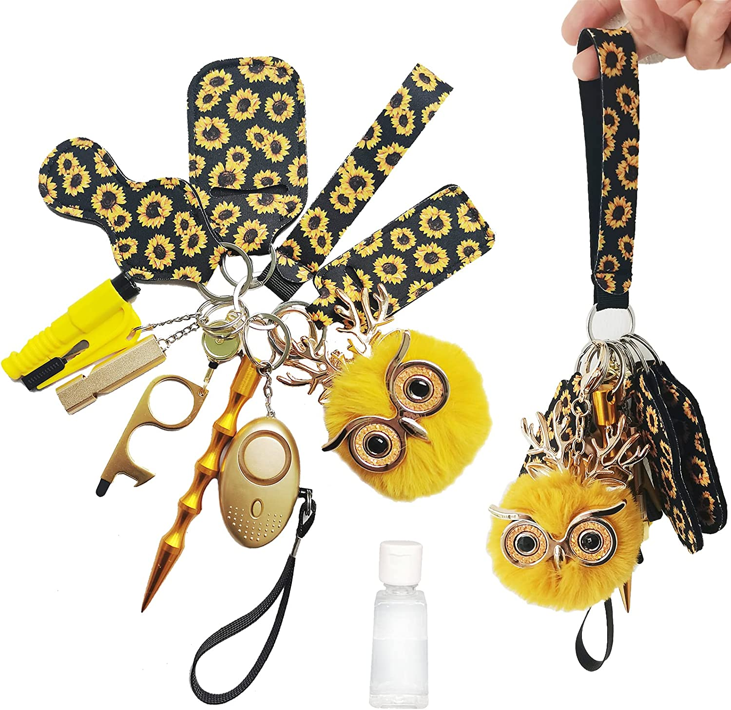 ZUGOULOOK Self Defense Keychain for women,with alarm,window breaker,Upgrade 12 Pcs Self Defense Keychain Set Cute,Gift for Family (flower)