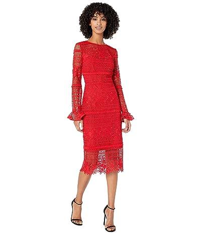 ML Monique Lhuillier Red Lace Cocktail Dress (Lipstick) Women
