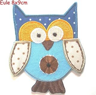 2 Pcs Iron On Embroidered Motif Applique Fish 8x6 and Owl 8x9 - Glitter Sequin Decoration Patches DIY Sew on Patch for Jeans, clothing embroidery fabric appliques by TrickyBoo Design Zurich