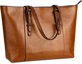 YALUXE Genuine Leather Women's Laptop Tote Large Work Bags Shoulder Bag Vintage Style Purse Fits Up to 15.6 inch