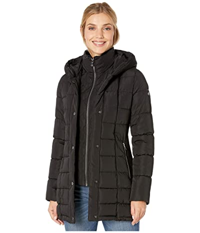 Calvin Klein Traditional Down with Bib Insert Knit Detail at Sleeve and Side Panels (Black) Women