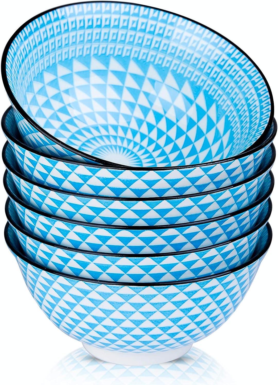 Venlles Porcelain Blue Cereal Bowls Cerami Finally resale start Japanese oz New Orleans Mall 21 Style