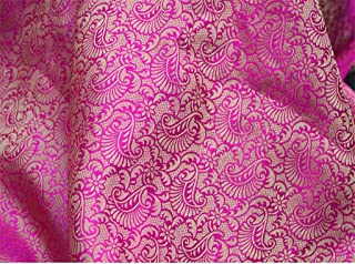 Hot Pink Brocade Jacquard Art Silk Indian Banarasi Brocade Wedding Fabric