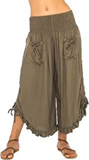 Back From Bali Womens Cropped Wide Leg Pants Trouser Comfort Solid Elastic Waist