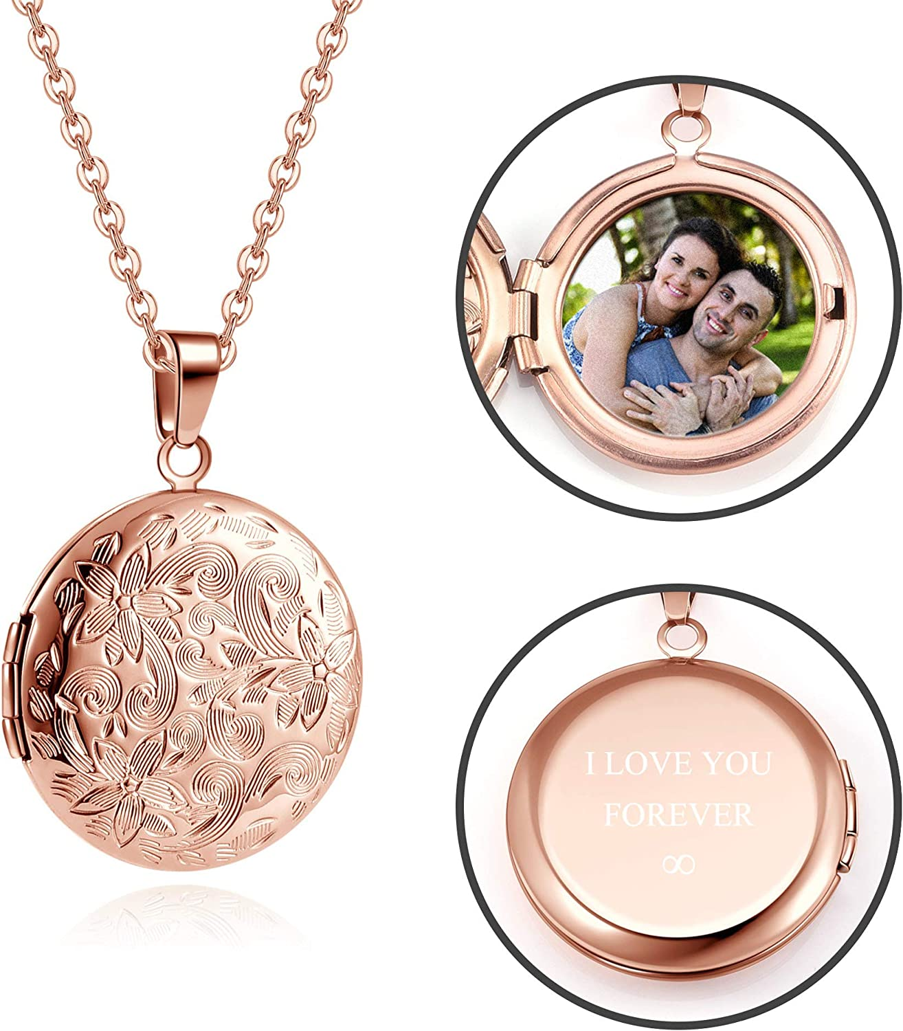 Personalized Master Custom Photo Locket Necklace That Holds Pictures Stainless Steel Photo Text Necklace for Women Girls Mother's Day Birthday
