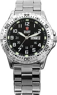Men's Date Day Luminous White Silver Military Sport Quartz Watch + Box SAW018