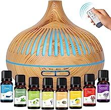 GeeRic Aromadiffuser + 8 x 10 ml etherische oliën, 550 ml luchtbevochtiger ultrasone vernevelaar, luchtbevochtiger aromath...