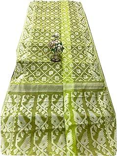 الأخضر الهندي جامداني نسج ساري امرأة القطن لينة لينة موتيف مسلم داكا ساري 933a