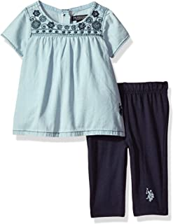 U.S. Polo Assn. Baby Girls' Fashion Top and Legging Set