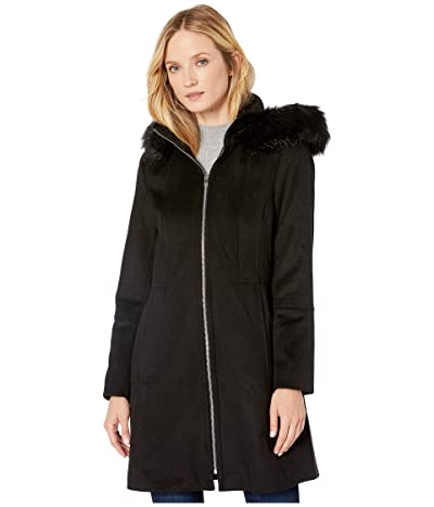 London Fog Zip Front Wool with Hood (Black) Women