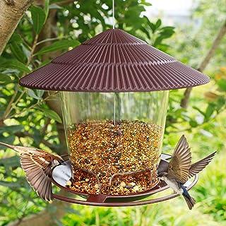 FORUP Panorama Bird Feeder, Hanging Wild Bird Feeder with Round Shaped Roof, Gazebo Bird Feeder for Outside Garden Yard De...
