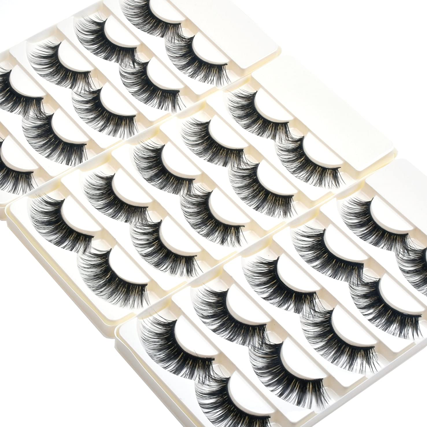 Wleec Beauty Dramatic Eyelashes Set Long Strip Lashes Handmade False Eyelash Pack #27/L (15 Pairs/3 Pack)
