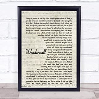 123 BiiUYOO Wonderwall Oasis Script Quote Song Lyric Print with Frame 14