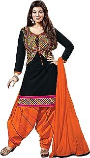 Pop Mantra Women's Cotton Straight Salwar Suit Set (EBSFSK28906A_Black_XXX-Large)