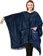 PAVILIA Poncho Blanket with Pom Pom Fringe | Angel Wrap Wearable Blanket Throw | Soft Plush Fleece Cape with Pockets Women...
