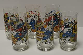 Vintage Smurf Collector Series Birthday Party Drinking Glasses Tumblers - Set of 6-1983