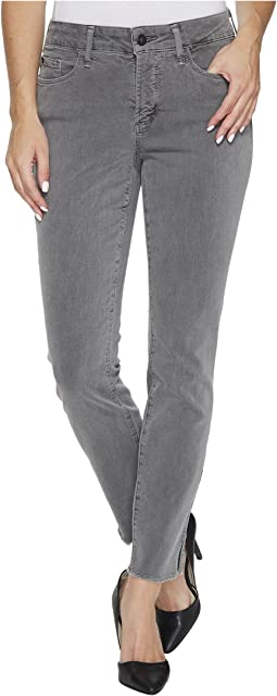 Ami Skinny Ankle Jeans w/ Fray Side Slit in Vintage Pewter