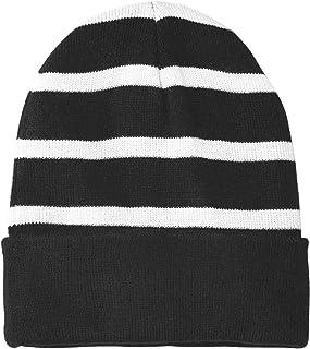 Sport-Tek Striped Beanie with Solid Band OSFA Black/ White