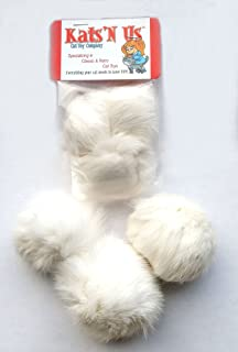 Real Rabbit Fur Pom Pom Cat Toy - 5 Pak Jumbo Size White