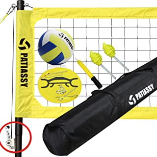 Patiassy Professional Portable Volleyball Net and Ball Set System for Outdoor Beach, Backyard with Storage Bag + Upgraded Adjustable Poles + Metal Stakes + Winch System for Anti Sag Net