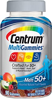 Centrum MultiGummies Gummy Multivitamin for Men 50 Plus, Multivitamin/Multimineral Supplement with Vitamins D3, E, B6, and...