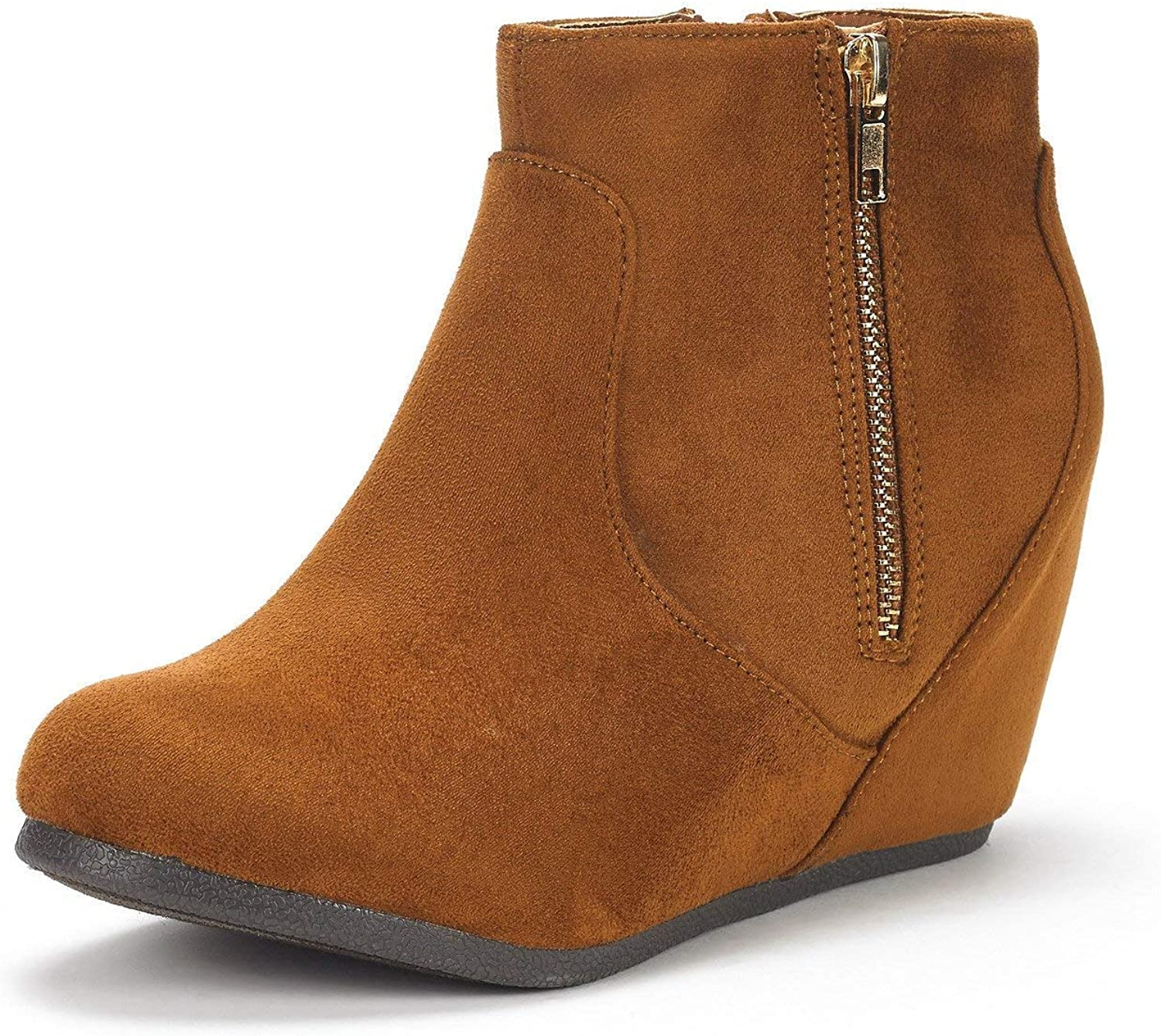 PRETTYHOMEL Women's NARIE-New Suede Low Wedges Ankle Boots(0 0)