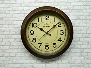 さんてる(Suntel) 掛け時計 ブラウン 直径285×65mm レトロ サークル 電波掛け時計 アンティーク・ブラウン DQL682-AN